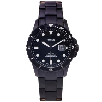 FOSSIL 黑水鬼款式不鏽鋼錶帶手錶(FS5659)-黑面X黑色/42mm