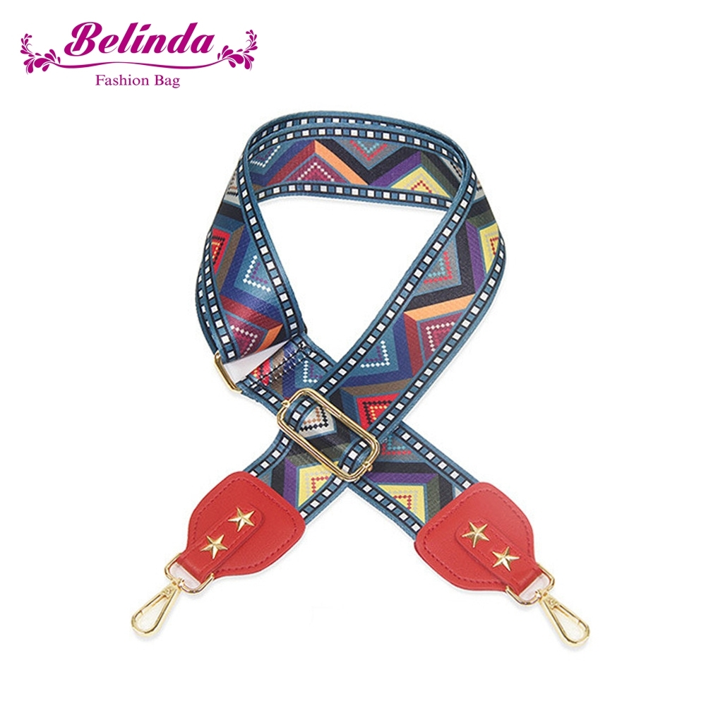 【Belinda】民族風三角圖騰寬版肩背斜背帶(紅色)