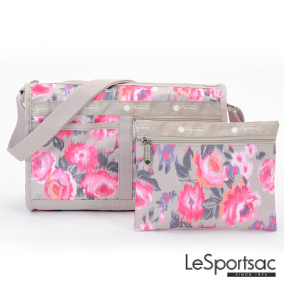 LeSportsac - Standard雙口袋斜背包-附化妝包(蠟繪玫瑰)