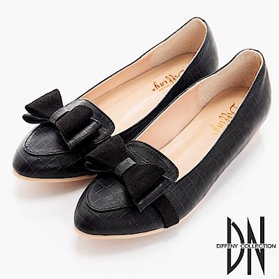 DN 舒適滿分 特殊壓紋內增高樂福鞋-黑