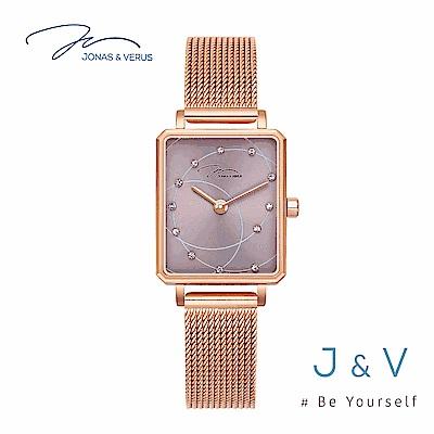 J&V-My Queen執我系列-方形玫瑰金米蘭帶女錶-紫 X02060-Q3.PPXBP