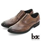 【bac】超輕量皮鞋 真皮雕花牛津紳士鞋-咖啡色