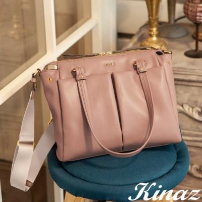 KINAZ 柔軟大容量斜背托特包-乾燥玫瑰-永生花系列-快