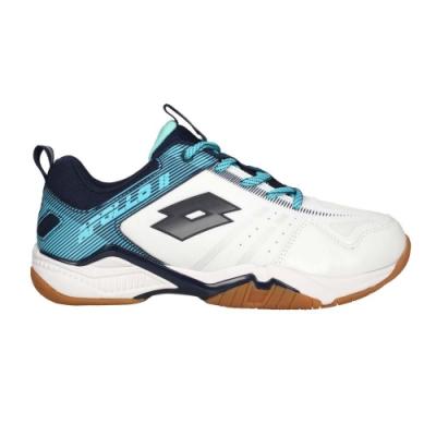 LOTTO 男女大童專業羽球鞋-運動 訓練 反光 LT0AKI2596 白藍灰