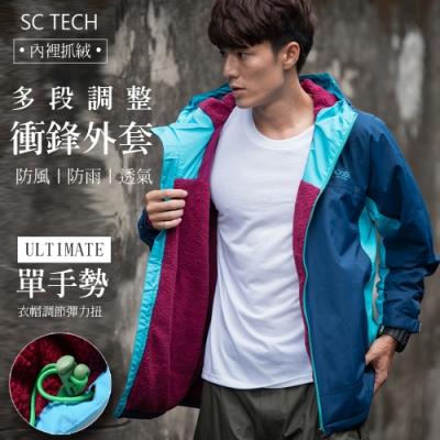 Secret Closet-時尚雙色防水透氣機能保暖連帽外套-湖藍