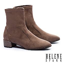 短靴 HELENE SPARK 摩登時尚晶鑽粗跟彈力短靴-米