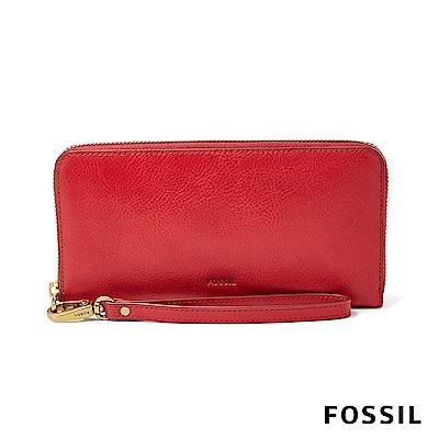 FOSSIL EMMA 真皮RFID拉鍊大長夾-暗紅