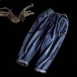 寬鬆顯瘦破洞磨白牛仔哈倫長褲-設計所在
