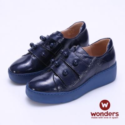 WONDERS -寬帶魔鬼氈厚底皮鞋-藍