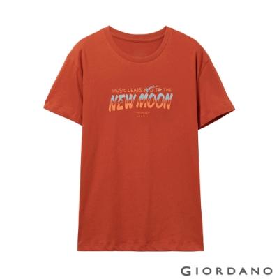 GIORDANO 女裝MUSIC系列印花短袖T恤-62 夕陽紅