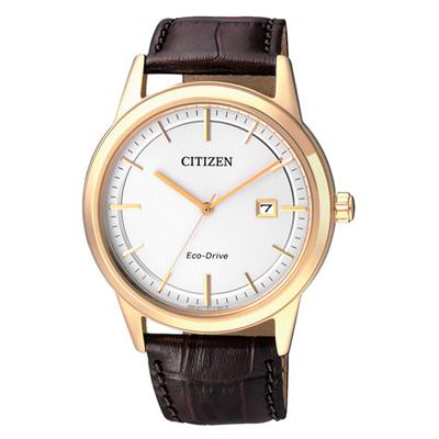 CITIZEN 款款情深光動能時尚男錶(AW1233-01A)-金框白x咖啡皮帶