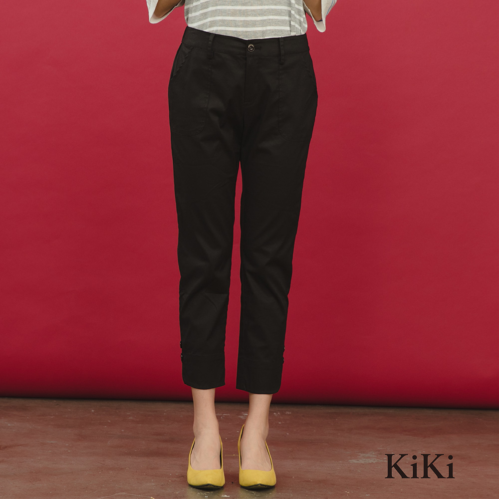 【KiKi】簡約修身顯瘦-長褲(黑色)
