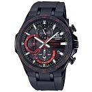 EDIFICE 計時碼錶系列黑紅混搭太陽能電賽車腕錶(EQS-920PB-1A)/56mm