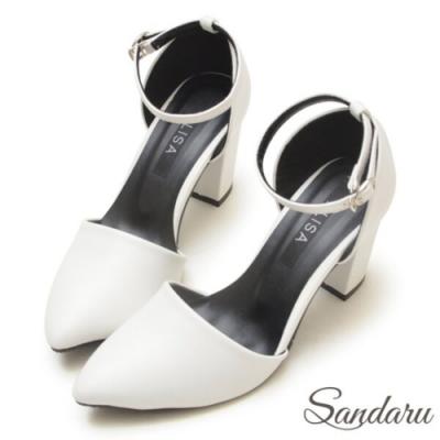 山打努SANDARU-顯瘦皮革尖頭高跟瑪莉珍鞋-白