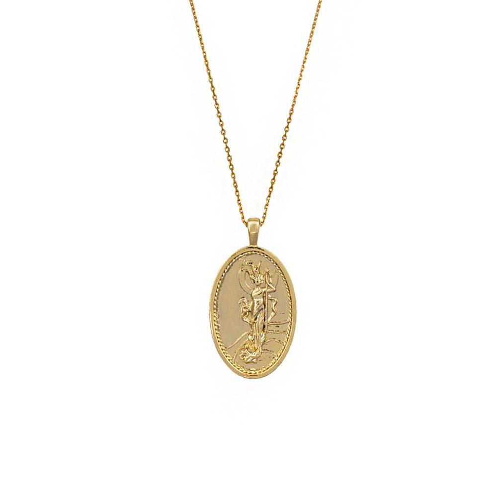 Wanderlust+Co 澳洲時尚品牌 伊麗絲希臘女神吊牌項鍊 金色