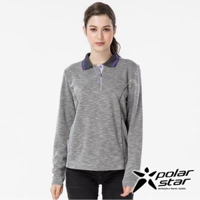 PolarStar 女 吸排長袖POLO衫『灰』 P19222