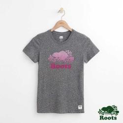 女裝Roots 漸層海狸LOGO短袖T恤-灰色