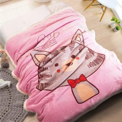 Carolan-領結貓咪 雙層加厚 法萊/羊羔絨童毯(100x140cm)