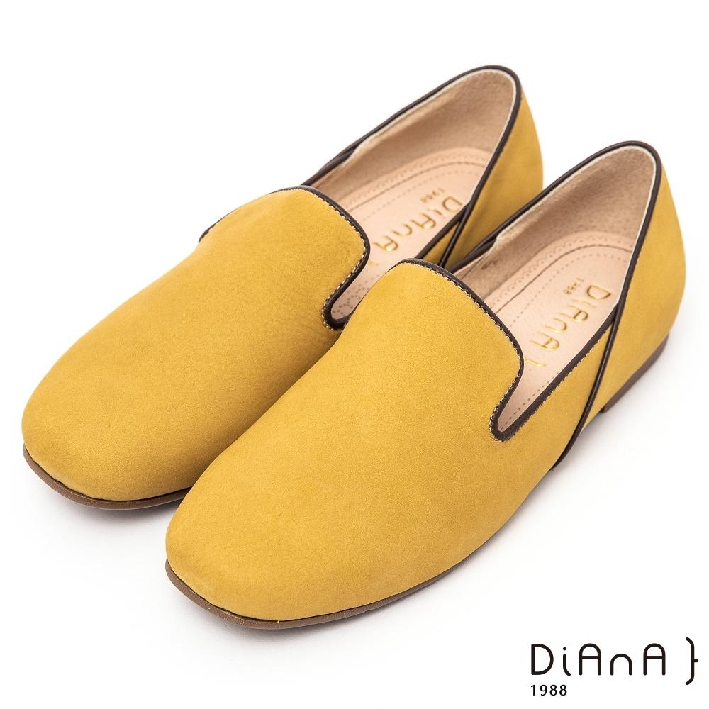 DIANA素雅大方軟牛皮 1.5公分圓方頭跳色滾邊休閒懶人鞋-漫步雲端超厚切焦糖美人–黃