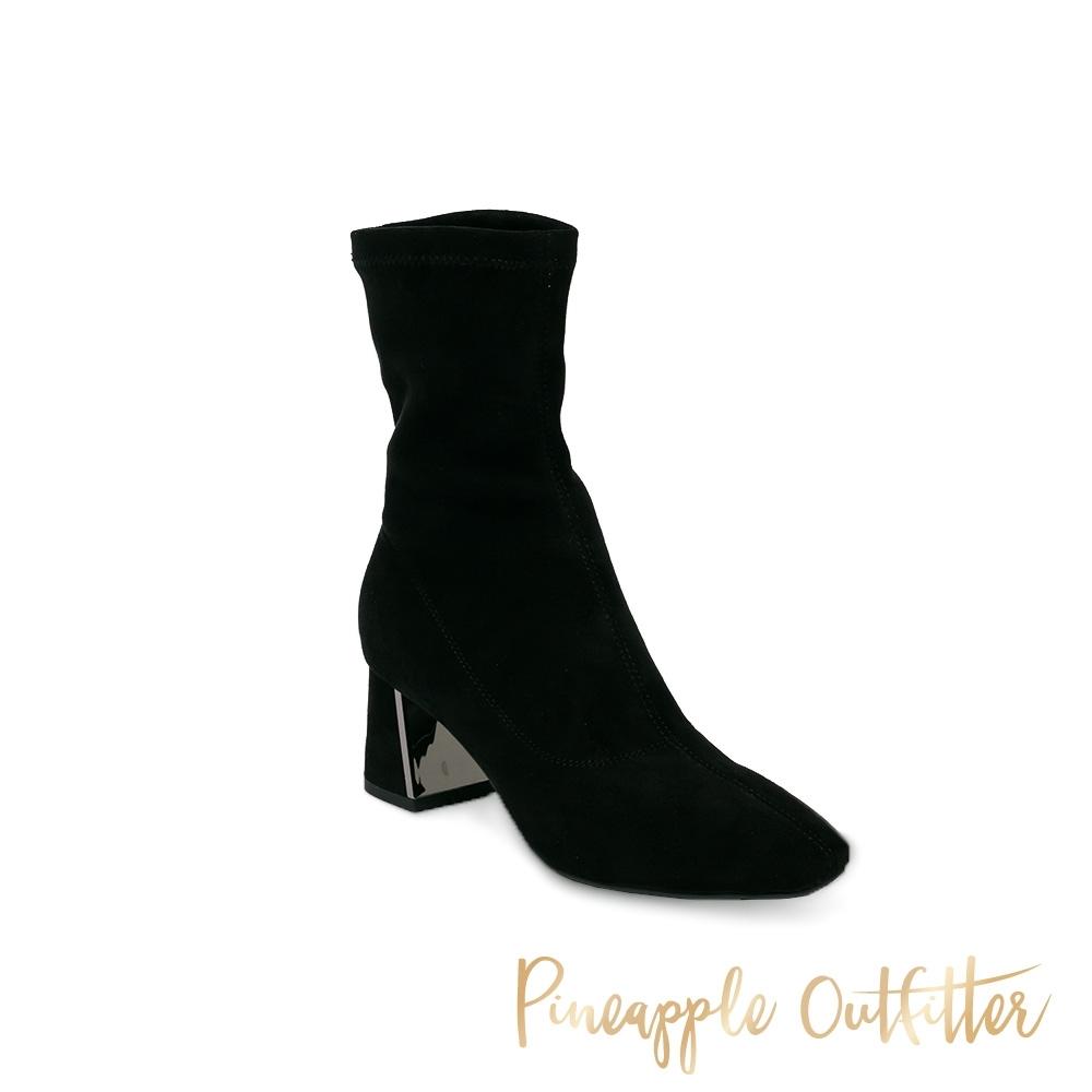 Pineapple Outfitter-LALAINE 氣質款 喀什米爾造型粗跟中筒靴-黑色