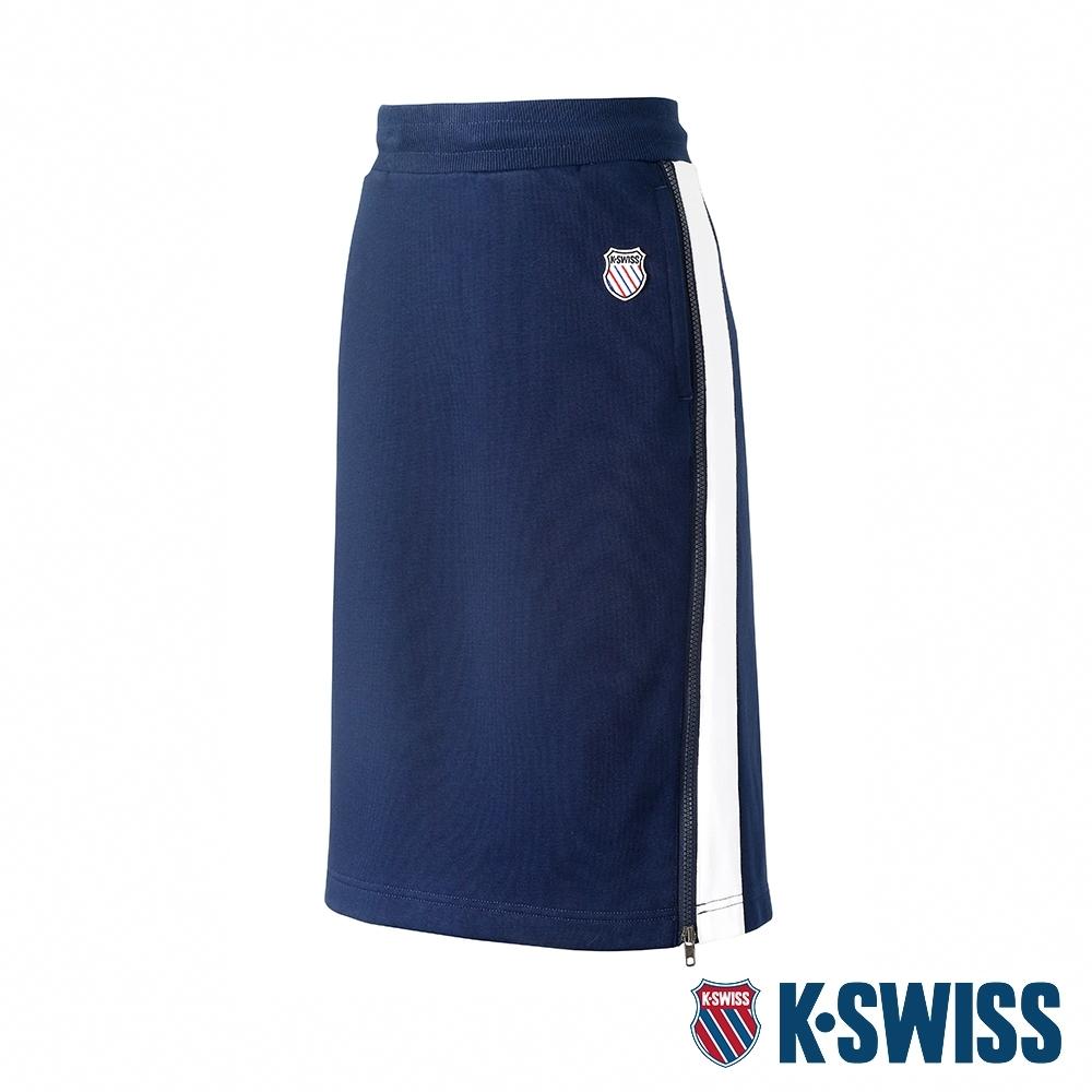 K-SWISS Court Sweat Skirt修身及膝裙-女-深藍