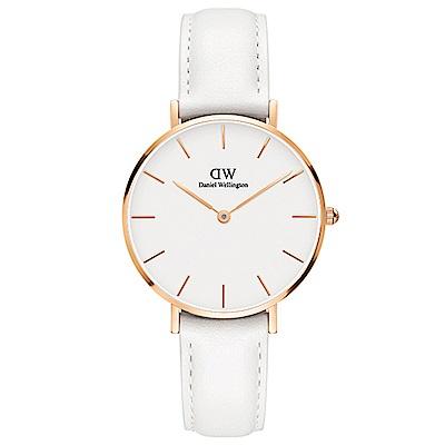 DW手錶 官方旗艦店 32mm玫瑰金框 Classic Petite 純真白真皮皮革手錶