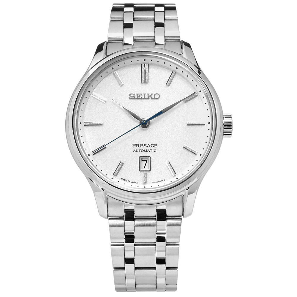 SEIKO 精工 PRESAGE 自動上鍊 藍寶石水晶玻璃 不鏽鋼機械錶-銀色/42mm