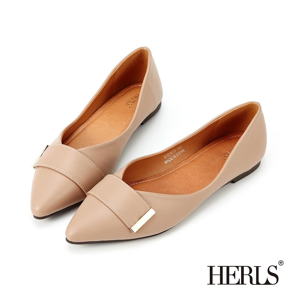 HERLS平底鞋-簡約橫帶金飾尖頭平底鞋-藕粉色