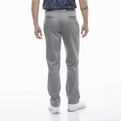 【Lynx Golf】男款涼感彈性舒適素面基本款平面休閒長褲-灰色