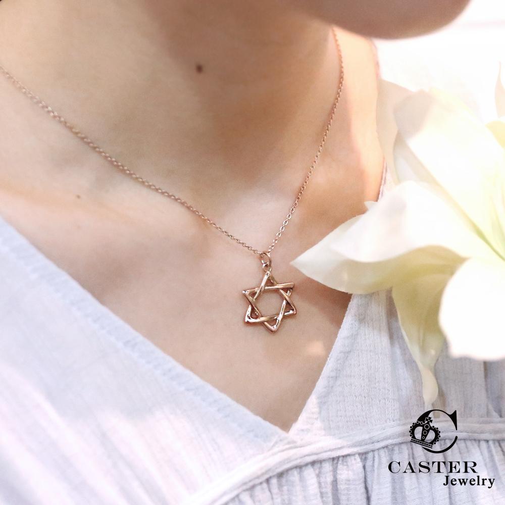 日本 凱斯特 CASTER 閃耀之星 玫瑰金項鍊 防抗過敏 SUS316L頂級不鏽鋼飾品
