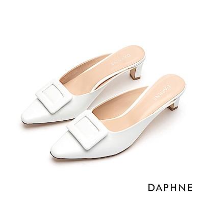 達芙妮DAPHNE 高跟鞋-簡約方釦穆勒尖頭跟鞋-白