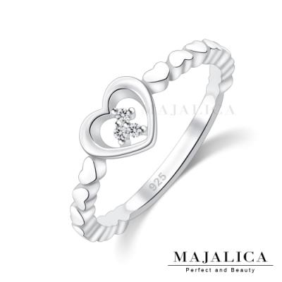 Majalica半圈愛心女戒尾戒925純銀戒指推薦品牌 單個價格(MIT)