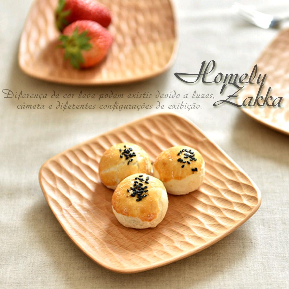Homely Zakka 木趣食光木質輕食點心碟 (方型鑿痕)
