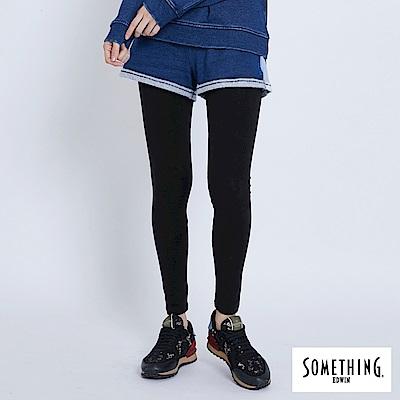 買一送一 SOMETHING LADIVA 假兩件運動X休閒牛仔內搭褲-女-拔洗藍