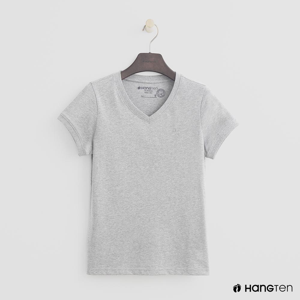 Hang Ten - 女裝 - 有機棉-小V領純色T恤 - 灰 @ Y!購物