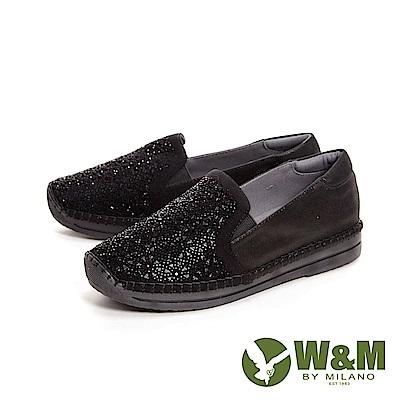 W&M 花型亮鑽質感光澤休閒平底 女鞋-黑(另有卡其)