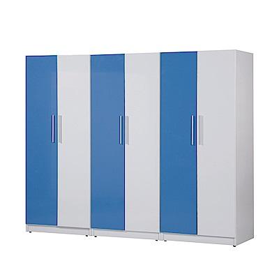文創集 凱旋環保8.2尺塑鋼衣櫃組合(五色)-244.5x61.5x200cm-免組