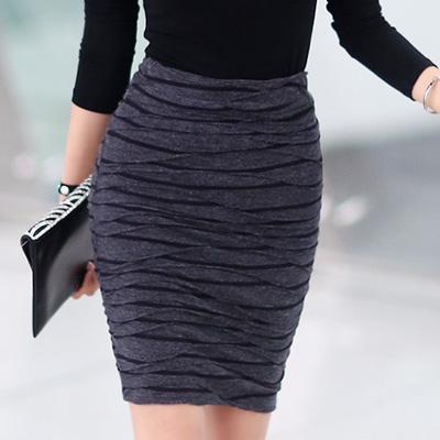 正韓 不規則壓褶高腰包臀短裙 (深灰色)-N.C21