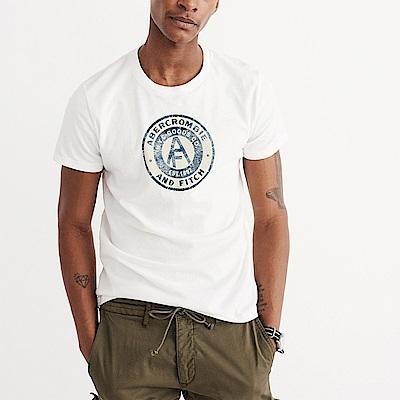 麋鹿 AF A&F 經典電繡文字短袖T恤-白色
