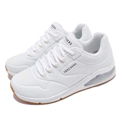 Skechers 休閒鞋 Uno 2-Air Around You 女 街頭時尚 氣墊 支撐緩衝 耐用 皮革 白 棕 155543WHT
