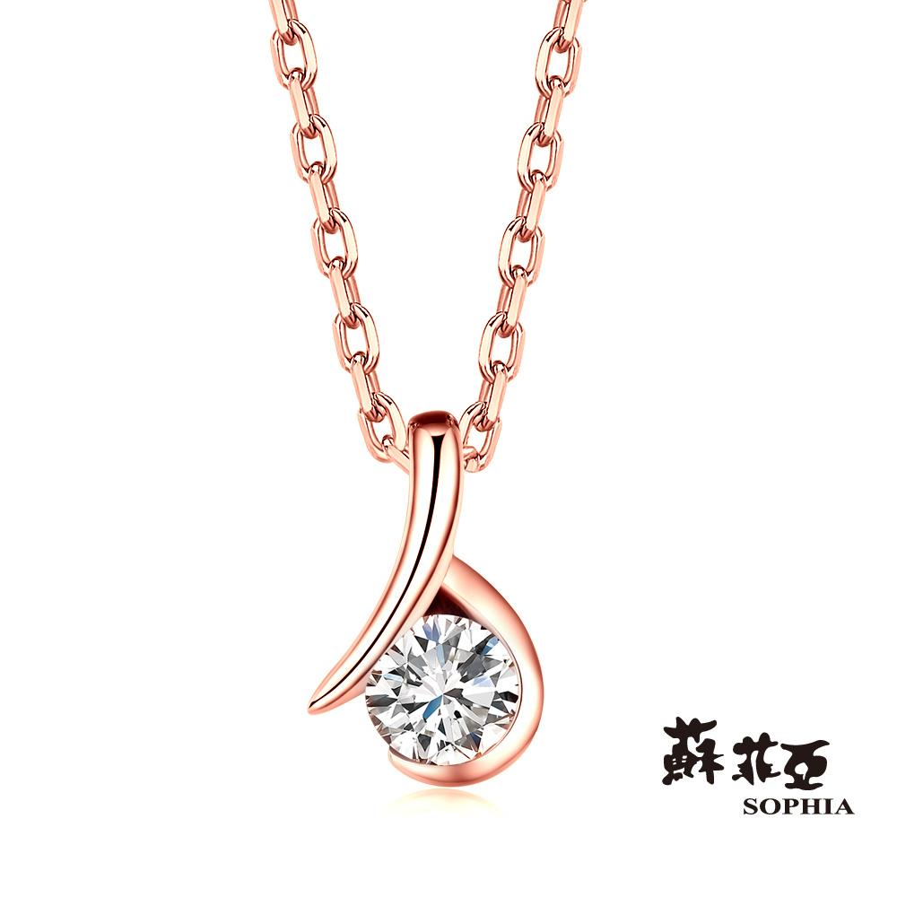 蘇菲亞SOPHIA 鑽鍊-雋永0.15克拉玫瑰金鑽石項鍊