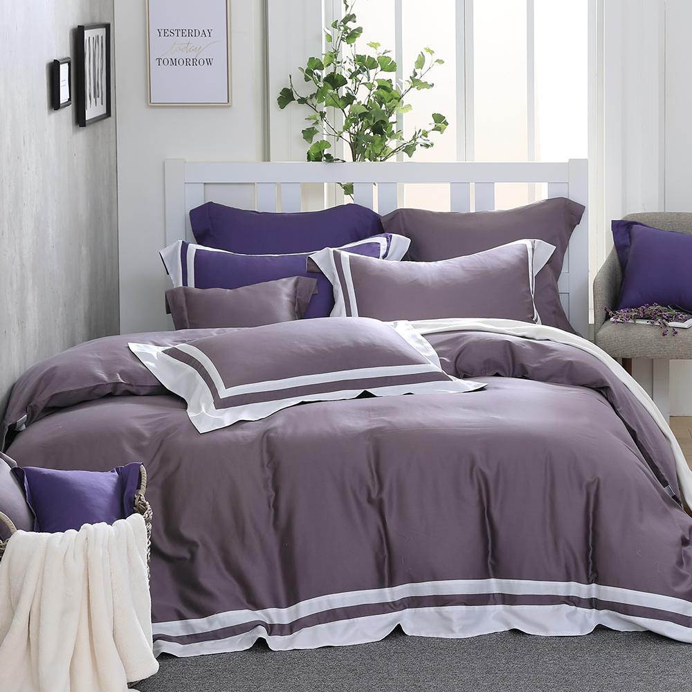 LASOL睡眠屋-300織拚接設計款精梳棉 加大兩用被床包四件組 迷霧紫