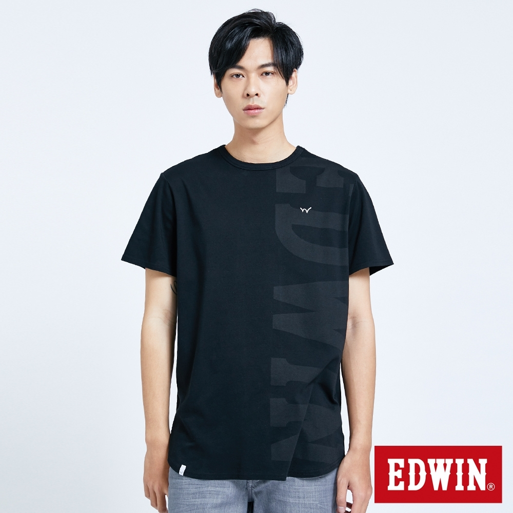 EDWIN EFS涼感剪接 長版短袖T恤-男-黑色