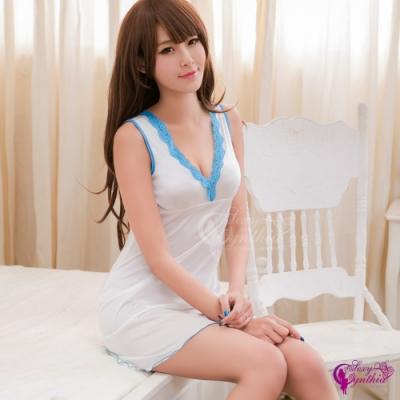 Sexy Cynthia 簡約純白柔緞深V美背連身裙睡衣-白