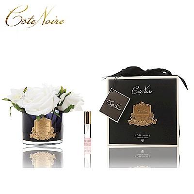 法國 CoteNoire 蔻特蘭 五朵象牙白玫瑰香氛花黑瓶