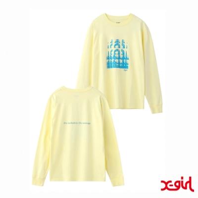 X-girl PSYCHEDELIC FACE L/S REGULAR TEE長袖T恤-黃