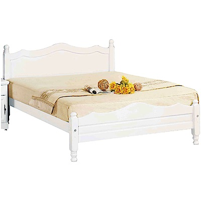 綠活居 桑吉洛法式白6尺實木雙人加大床台(不含床墊)-183x202x98cm