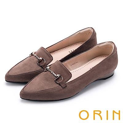 ORIN 經典復古 氣質馬蹄扣百搭樂福平底鞋-可可