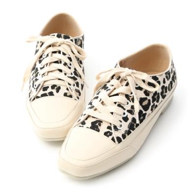 D+AF 自在首選.小方頭多色帆布休閒鞋*豹紋