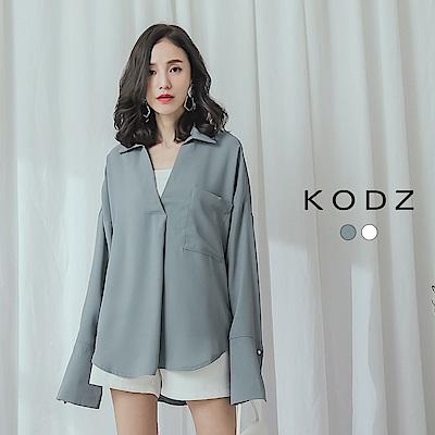 東京著衣-KODZ 知性時尚優質面料V領雪紡襯衫上衣(共兩色)